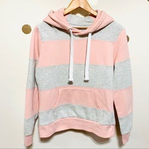 Reflex   Pink and Gray Striped Hoodie